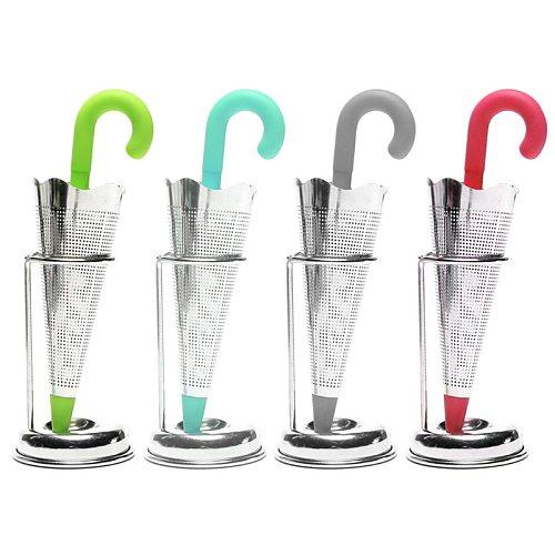 Stainless Steel Tea Infuser Umbrella Shape Silicone Herbal Spice Filter Strainer Holder for Tea Lover