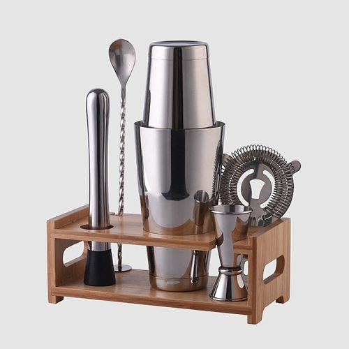 OAPE 28oz 600/800ml Stainless Steel Boston Cocktail Shaker Coctelera Bartender Accessories Bamboo Wood Stand Bar Tools Set Kit