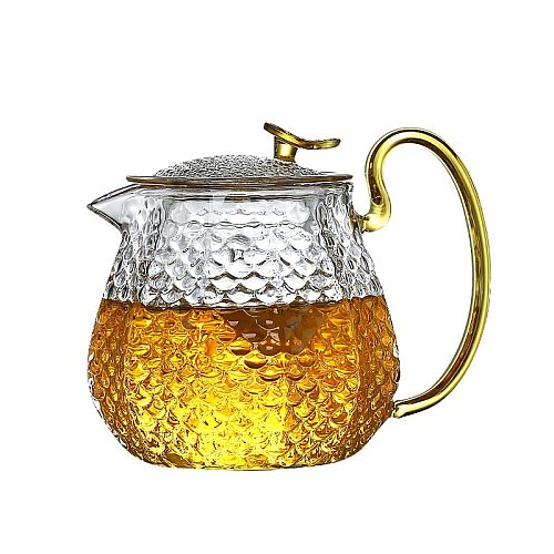 High Borosilicate Glass Teapot Household High Temperature Resistance Hammer Pattern Teapot Kung Fu Tea Set Filter Bubble Teapot