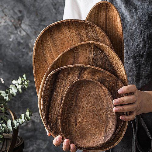 Foods Dish Dessert Kitchen Plate Tray Solid Wood Acacia Tableware Plate Irregular Oval Tea Dessert Saucer Storage Tray