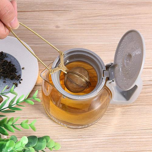 Gold Stainless Steel Tea Infuser Sphere Mesh Tea Strainer Coffee Herb Spice Filter Diffuser Handle Tea Ball