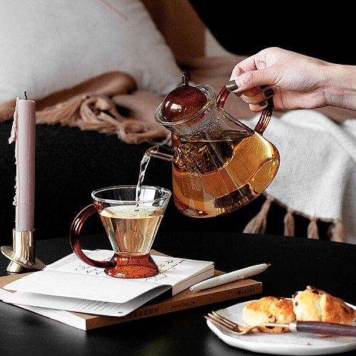 Borosilicate Glass Teapot Heat-Resistant Large Clear Tea Pot Flower Tea Cup Set Teaware Tea Pot and Cup Set