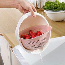 Kitchen Multi-function Drain Basket Bowl Rice Washing Colander Basket Strainer Noodles Vegetable Fruit Double Drain Storage Bask