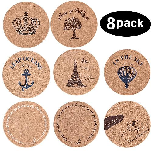 8 PACK Cup Coasters Dinning Table Coaster Cork Coastera Kitchen Accessories Coasters for Drinks Absorbent Cork Coasters Mat