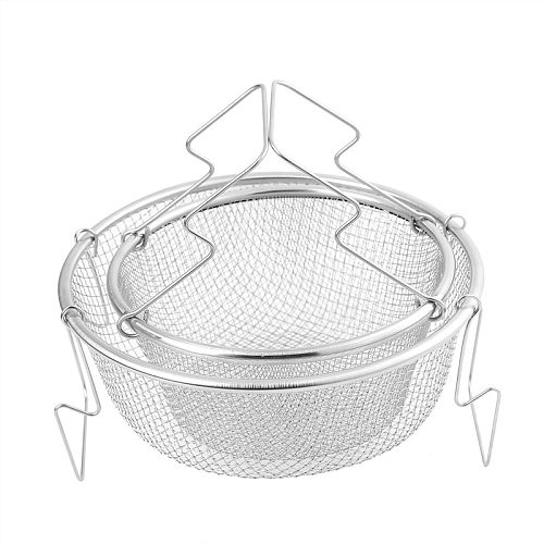 1PC Tableware Fryer Handle Strainer Colander Mini Tool Home Stainless Steel French Fries Basket Kitchen Portable Snack Cooking
