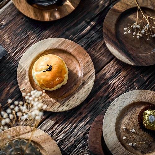 Handmade lovesickness Wood round shape Solid Wood plate Fruit cake Dishes Saucer Tea Tray Dessert Dinner Plate Tableware Mug Pad