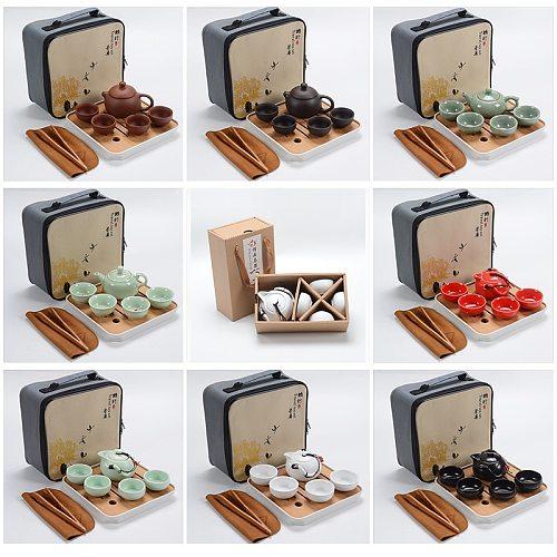 Chinese Kung Fu Tea Set Portable Teaware Set Ceramic Teapot Teaset Gaiwan Tea Cups Of Tea Ceremony Tea Pot Purple Gaiwan Gifts
