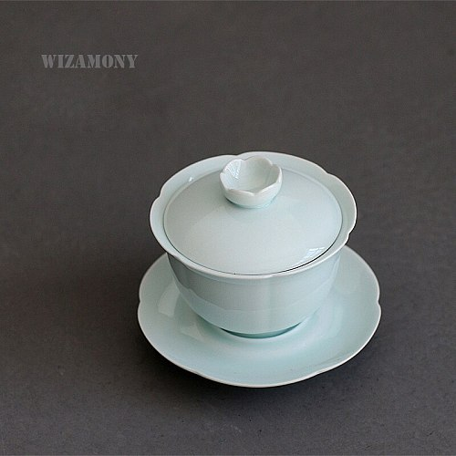 Hot Sale WIZAMONY Chinese Porcelain Celadon Gaiwan Tea Set Teapot High Quality For Puer tea large size