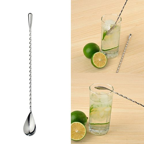 Long Handle Stir Spoon Ice Cream Dessert Tea Spoon Spiral Pattern Drink Shaker Muddler Stirrer Bar Tools Kitchen Accessories