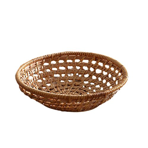 Ornament Living Room Round Rattan Bread Basket Home Storage Photography Props Dinner Party Towel Holder Woven Tea Tray Platter