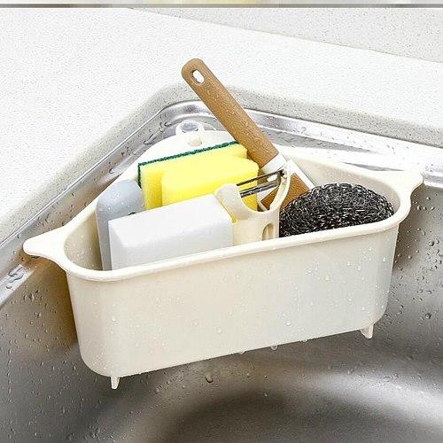 Kitchen Sink Strainer Vegetable Fruit Drain Basket Suction Cup Sink Corner Storage Sponge Towel Holder Rack Kitchen Sink Filter