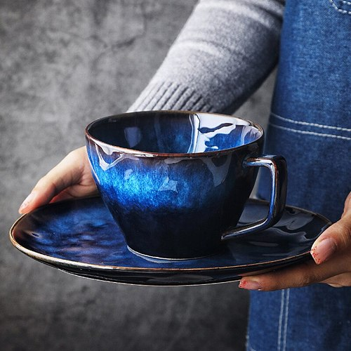 Ceramic Coffee Cup Saucer Set 480ml Nordic Tea Cup Matt Porcelain Tea Set Advanced Teacup Cafe Espresso Cup