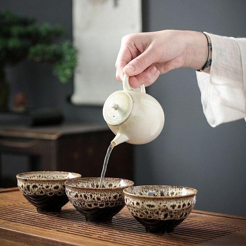 4pcs Ceramic Drinkware Teaware Chinese KungFu Tea Set Teacup Sake Cups 50ml Master Cup Small Tea Bowls Decor Gift