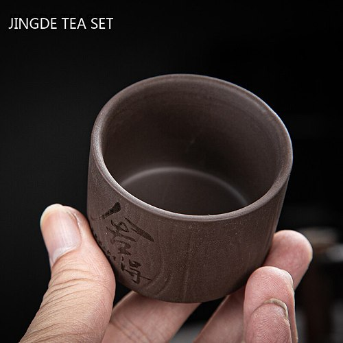 4 pcs/lot Handmade Purple Clay Teacup Hand-carved single cup Tea bowl Master Cup Chinese Teaware Drink tea set accessories