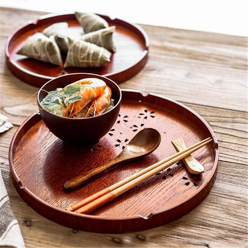 Home Tea Tray Round Natural Wood Serving Tray Snack Plate Tea Breakfast Bread Tray Hollow Out Fruit Desktop Tray Gadgets