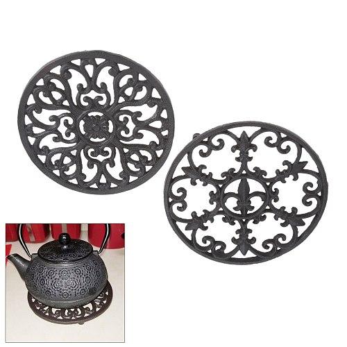 1pc Cast Iron Teapot Trivet Vintage Exquisite Brown Round Pot Holder Hollow Mat Insulation Pad Table Decor Kitchen Teaware Retro