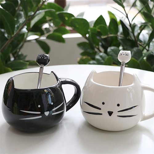 Creative Cartoon Stirring Spoon Coffee Black White Ceramic Cat Head Spoons Stainless Steel Children's Cute Coffee Milk Teaspoon