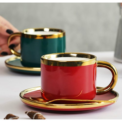 Luxury European Ceramic Coffee Cup Set with Spoon Green Red Textured Porcelain Cup High Quality Teacup and Saucer Gift MM60BYD
