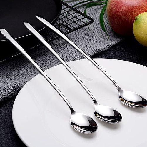 8 Inch Utensil Stainless Steel Long Handle Spoon Baking Cookware Ice Tea Cream Scoop Flatware Kitchenware Teaspoon