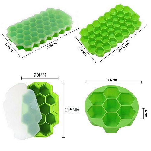 37 Cell Honeycomb Ice Cube Tray Silicone Ice Cube Molds With Lid Home Summer Ice Cream Whiskey Cocktail Cold Drink Make Tool