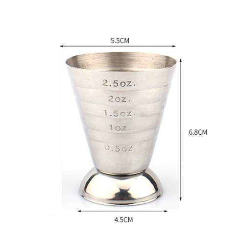 75ml Measuring Shot Cup Ounce Jigger Bar Cocktail Drink Mixer Liquor Measuring Cup Mojito Measure Coffee Mug Stainless Steel