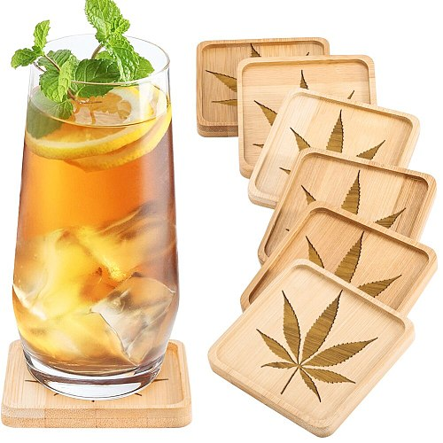 Simple Leaf Engraving Pattern Wooden Non-slip Tea Cup Mats Tea Accessories Suitable For Study Office Anti-scalding Tray Coasters