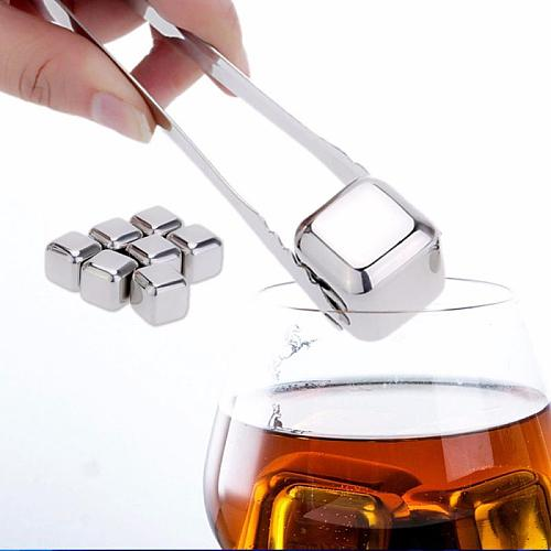 1 Pcs Creative Reusable stainless steel Wine Cooler Ice Cube Stones Beer Cooler Cube Chiller Keep Your Drink Cold Longer
