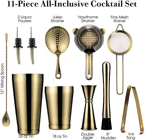 11-Piece Cocktail Shaker Bar Set: Weighted Boston Shakers,Cocktail Strainer Set,Jigger, Cocktail Muddler,Spoon, Ice Tong,Pourers