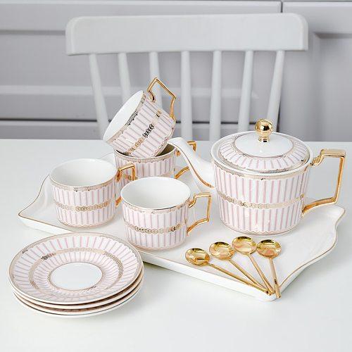 Teapot Ceramic Tea Cup Set Bone China Teaware Coffee Pot Heat Resistant Espresso Mugs Kettle Tetera Kahve Fincan Takimlari Tazas