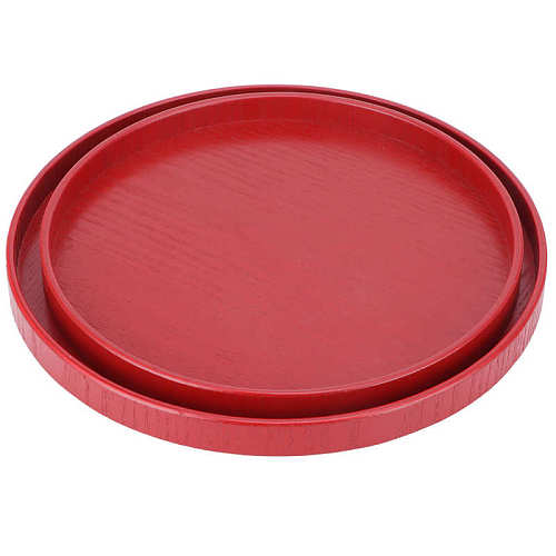 restaurante tray Chinese Tea Tray Round Wooden Tea Cup Tray Wedding Red Plate for Home Wedding Kitchen Steak Pasta