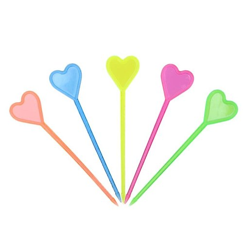 50pcs Heart Shaped Plastic Buffet Sticks For Fruits Cocktail Snack Food Forks Tableware Barware Kitchen Accessories