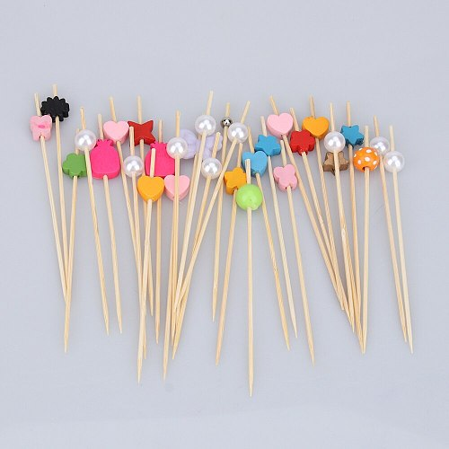 100PCS Colorful Bamboo Tag Fruit Sign Toothpick Cocktail Decoration Fruit Plate Dessert Fork(Mixed Color)