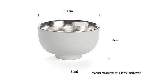 50ml Handmade Pottery and Porcelain Precious Metal Pure Silver Health Teacup Kung Fu Tea Set Puer Black Tea Cup Drinkware