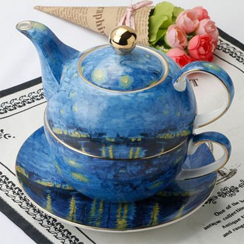 British Bone China Teapot and Teacup Set Afternoon Tea Creative Oil Painting Coffee Pot Set Valentine's Day Gift Ceramic Teaware
