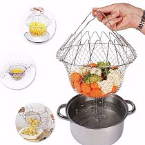 1PC Foldable Steam Fry Chef Basket Mesh Rinse Strain Fry Oil Mesh Basket Strainer Net Restraurant Kitchen Food Cooking Tool