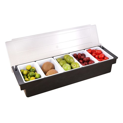 Bar Drinks Fruit Garnish Cocktail Decorative Box Ktv Fruit Box Kitchen 5 Compartment Seasoning Case Bar Condiment Box Holder