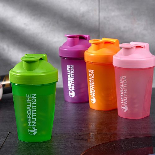 400ML Sports Shake Bottle Whey Protein Mixing Bottle Sports Fitness Fitness Portable Outdoor Plastic Drink Bottle