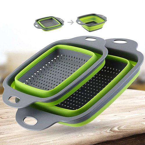 Foldable Silicone Dishwashing Basket Kitchen And Bar Supplies Fruit And Vegetable Dishwashing Basket With Handle Drainer