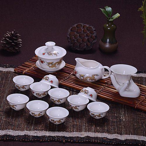 14 Pcs Travel Tea Sets Chinese Portable Ceramic Bone China teaset Gaiwan Teacup Porcelain Tea Cup The Kung Fu Teapot Set
