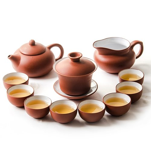 Purple Clay Chinese Kung Fu Tea Set Yixing Teapot Handmade Tea Pot Cup Zisha Gaiwan Tea Kettles Ceremony Drinkware Teaware Set