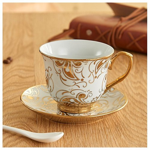 European Sstyle Teacup Set Electroplated Ceramic Gold-painted Coffee Cup And Saucer Drinking Cup Milk Cup Coffee Cup Set