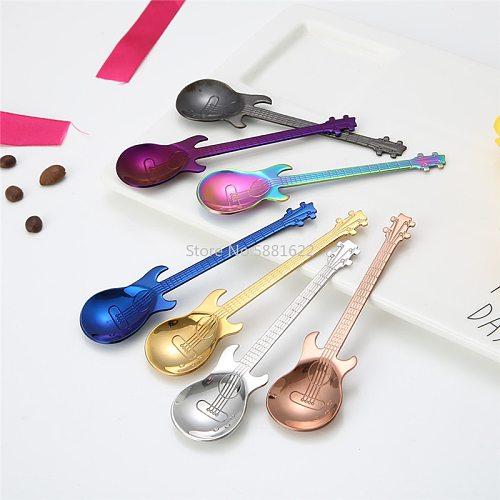 1PCS Stainless Steel Cartoon Guitar Spoon Creative Milk Coffee Spoon Ice Cream Candy Teaspoon Accessories 7 Color Options