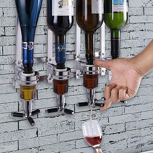 4-Head Liquor Dispenser Wall Mounted Liquor Dispenser Beverage Wine Racks Cocktail Dispenser Wine Holder