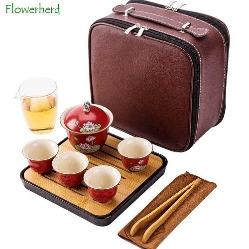 Ceramic Porcelain Kungfu Tea Set Teaware Travel Outdoor Kung Fu Tea Set with Tea Tray Leather Bag Matt Tea Pot and Cup Set