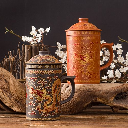 Retro Yixing Dragon Phenix Purple Clay Tea Mug with Lid and Infuser Handmade Ceramic Teacup Office Water Cup Gift Home Drinkware