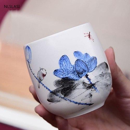 4 pcs/set Jingdezhen Ceramic Teacup Tea bowl Hand Painted Coffee Wine Cups Blue and white Tea set Drinkware Supplies 220ml