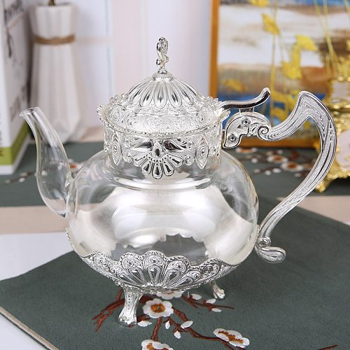Palace Golden Glass Teapot Kitchen Metal Cold Kettle Coffee Pot European Style Home Decoration Glassware Birthday Wedding Gifts