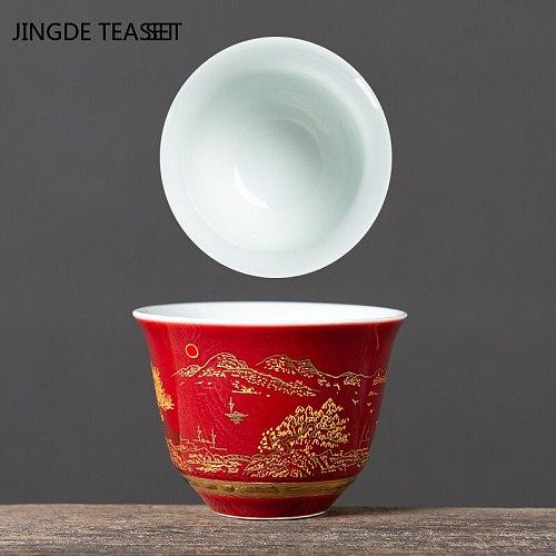 2 pcs/lot Chinese Ceramics Teacup Home Tea bowl Handmade Retro Teaware Accessories Single cup Master Tea cups Drinkware