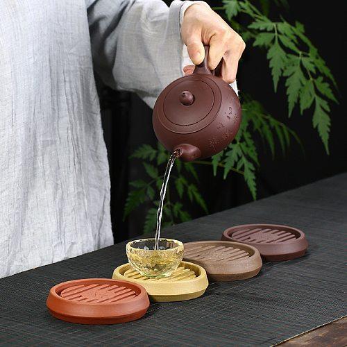 Yixing Purple Clay Round Teapot Trivets Ore Mud Teaware Base