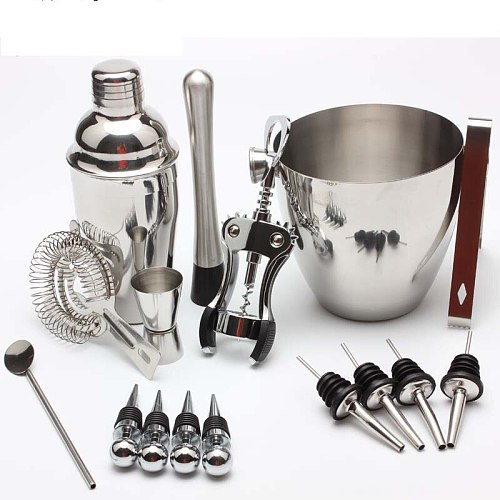 Stainless Steel Cocktail Shaker Western Bar Cocktail Set 16 Piece Ice Bucket Wine Stopper Clip Household Bartending Tools